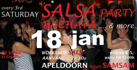 Saturday Salsa Party - 18 januari in Artcafé SamSam, Apeldoorn