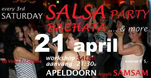 Saturday Salsa party - 21 april - Artcafé SamSam, Apeldoorn